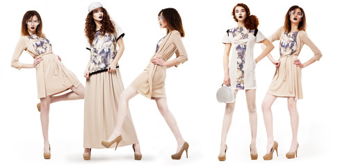 Collage of Glamorous Girls Shoppers in Modern Dresses. Lifestyle