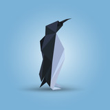 Vector illustration of origami penguin