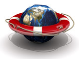 Спасательный круг на земном шаре