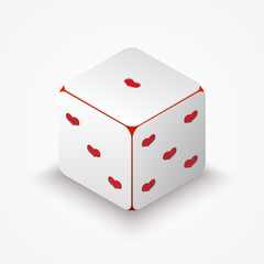 Dice with red hearts
