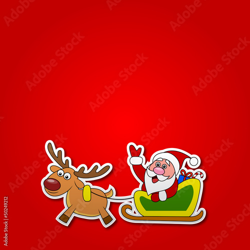 paper cut of Santa drives his sleigh
