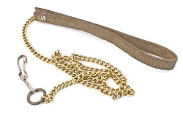 Dog leather and chain leash