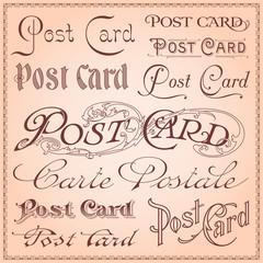 Vintage postcard lettering vector