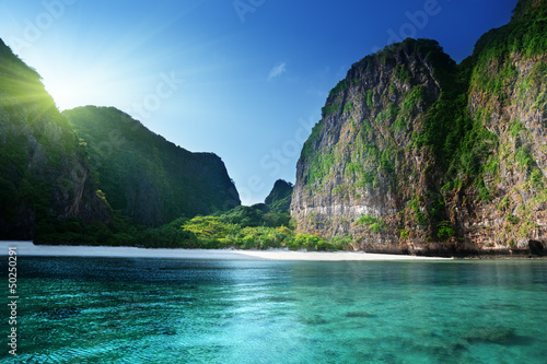 morning time at  Maya bay, Phi Phi Leh island,Thailand