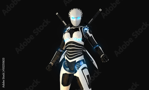 Android character with swords
