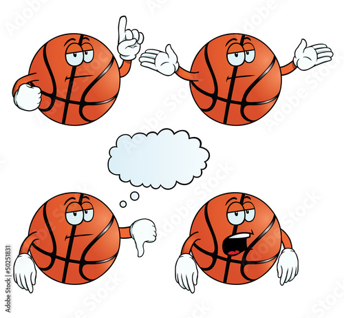 Collection of bored basketballs with various gestures.