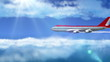 animated intro with airplane flying over clouds with sun