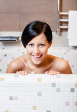 Beautiful woman relaxes in bath, hygiene concept