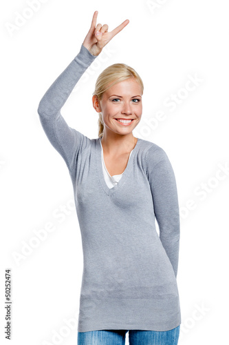 Lady gesturing rock sign with hand, isolated on white