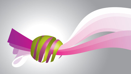 the egg on the ribbon