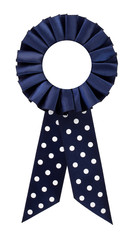 Award rosette prize with dotted blue ribbon blank