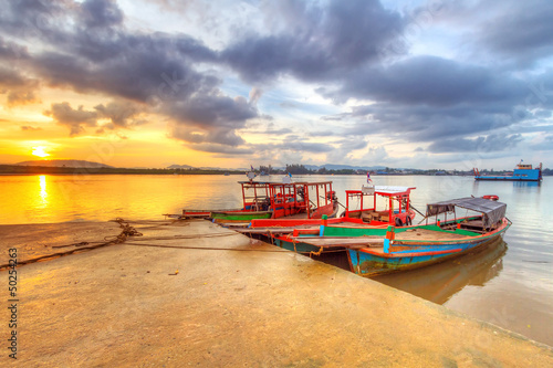 Sunrise at the harbor of Koh Kho Khao island, Thailand - 50254263