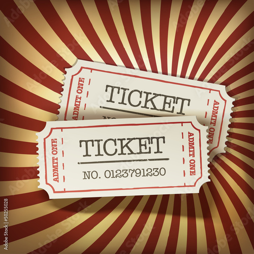 Foto op Plexiglas Vintage Poster Cinema tickets on retro rays background, vector.