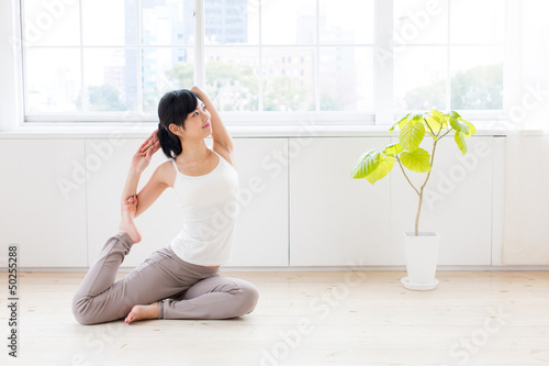 attractive asian woman exercising