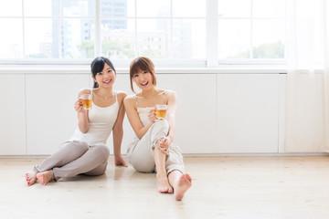 attractive asian women relaxing