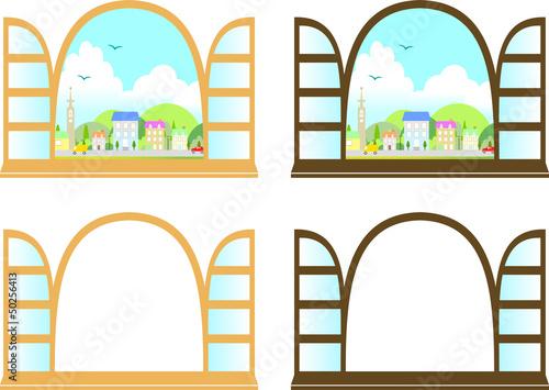 窓と街の風景