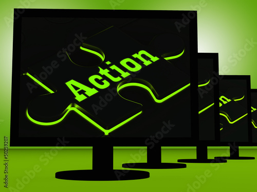 Action On Monitors Showing Acting