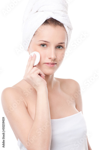 Young woman with perfect health skin of face