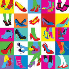 Lady shoes pop art style