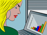 young woman working in office - popart illustration poster