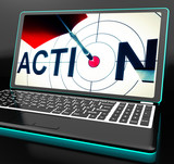 Action On Laptop Shows Motivation