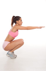 Woman working out doing aerobics