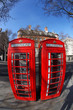 Old Red phone boxes in London, England