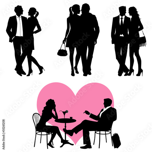 Lots of people, romance couple, silhouette - vector set