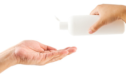 Woman and man hand holding bottle with shampoo