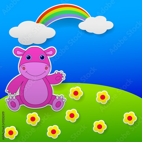 Greeting card with funny hippo waving hand