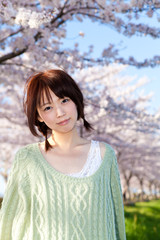 A beautiful woman in cherry blossom / JAPAN