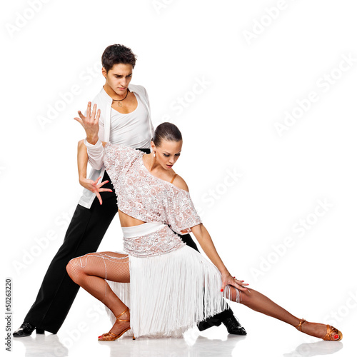 Sensual couple dancing salsa. Latino dancers in action. Isolated