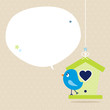Blue Bird Birdhouse Speech Bubble Beige Dots