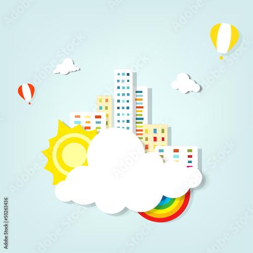Fototapeten,regenbogen,sonne,luftaufnahme,wolken