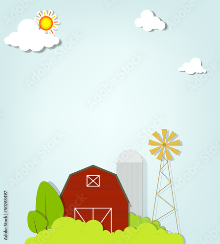 landscape with red farm windmill and silos
