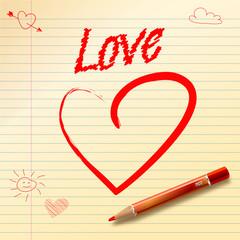 Big Red Drawn Heart. Love.
