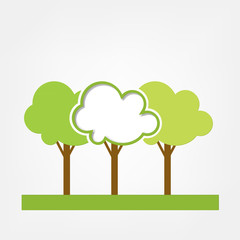 vector frame. green three trees on the field