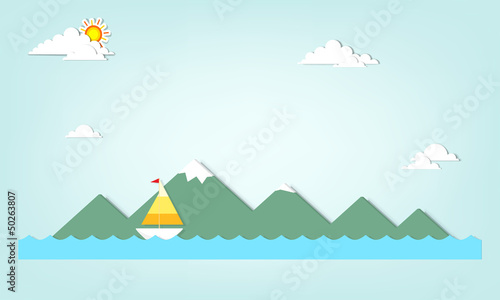 boat on a background of mountains