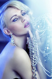 Stunning blonde beautiful woman with jewelary