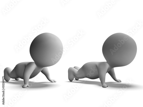 Push Ups Or Pressups Done By 3d Characters