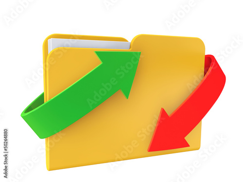 Date downloading Concept. Folder with arrows