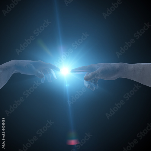 Michelangelo Creation of Adam flash and flare 3D