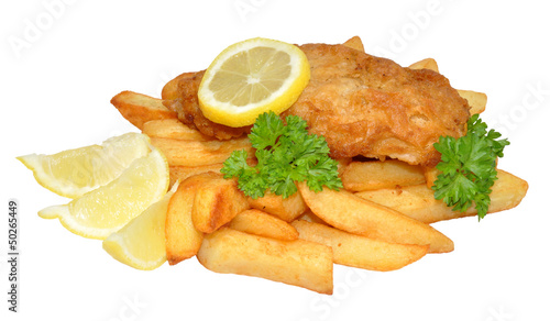 Foto op Plexiglas Vis Fish And Chips With Lemon