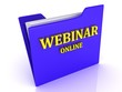 Webinar Online bright yellow letters on a blue folder