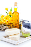two bars of soap and toiletries for relaxation poster