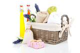 toiletries for relaxation, isolated on white background poster