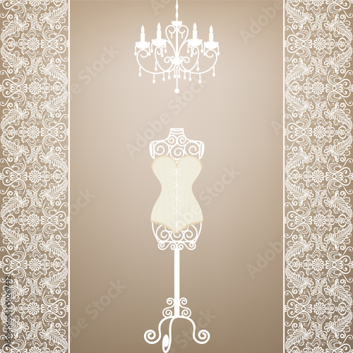 mannequin and chandelier