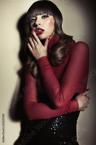 Sensual lady in the red colour