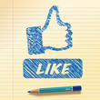 Like. Big Blue Drawn Icon (vector)