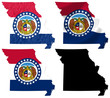 US Missouri state flag over map collage